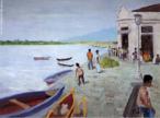 Obra de Paul Garfunkel mostrando o mercado de Paranaguá, de 1979.