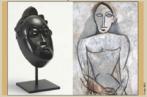 Pablo Picasso (1881 -1973) nunca foi á Africa, no entanto produziu obras como máscaras e esculturas com clara influência da mesma. Picasso, por volta de 1905, tomou conhecimento da arte africana e aí surgiu nitidamente a inspiração para o movimento cubista. Picasso fazia este rascunho para um de seus quadros quando tomou contato com esculturas africanas em um museu antropológico de Paris em 1907. As obras eram semelhantes a esta à esquerda.