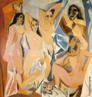 Obra reconhecida como fundadora da arte moderna. Representação de cinco prostitutas, duas delas com o rosto coberto por máscaras africanas. Influência da arte africana com rostos assimétricos e orelhas superdimensionadas.