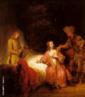 Rembrandt Harmenszoon van Rijn (1606 -1669, Amsterdam), pintor holandês, um gigante na história da arte. Suas pinturas são caracterizadas por pinceladas luxuriante, cores ricas, e um domínio do claro-escuro. Inúmeros retratos e auto-retratos exibem uma penetração profunda da personagem. Seus desenhos constituem um registro vívido da vida contemporânea em Amsterdam. O maior artista da escola holandesa, ele foi um mestre da luz e da sombra cujas pinturas, desenhos, gravuras e fez dele um gigante na história da arte. A história de José acusado pela mulher de Potifar pertence ao Gênesis, Antigo Testamento. A essência do episódio é a falsa acusação que José, escravo hebreu, recebe da mulher de seu amo de que ele estava tentando violá-la, quando, na realidade, ela não havia obtido sucesso ao assediar José na ausência do marido. O aspecto falsário do conteúdo da temática é revelado pela forma como Rembrandt posicionou os personagens e enfocou a luz, lembrando uma cena teatral. O pouco detalhamento do espaço - diferente dos quartos das representações renascentistas, ver Quarto - e a grande dramaticidade, são definidas pela iluminação, que também é o elemento visual que conduz a narrativa deste quadro.