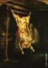 Rembrandt Harmenszoon van Rijn (1606 -1669, Amsterdam), pintor holandês, um gigante na história da arte. Suas pinturas são caracterizadas por pinceladas luxuriante, cores ricas, e um domínio do claro-escuro. Inúmeros retratos e auto-retratos exibem uma penetração profunda da personagem. Seus desenhos constituem um registro vívido da vida contemporânea em Amsterdam. O maior artista da escola holandesa, ele foi um mestre da luz e da sombra cujas pinturas, desenhos, gravuras e fez dele um gigante na história da arte. A obra é óleo sobre madeira, 94 x 69 cm realizada na fase madura do artista, é uma pintura na qual Rembrandt exercitou todo seu conhecimento e habilidade técnica a fim de conferir uma plasticidade singular à obra: nos efeitos de luz e cor, nas pinceladas e na ousada representação do corpo de um boi abatido e desossado.