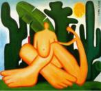 """Tarsila do Amaral (1886-1973) foi uma das mais importantes artistas do Brasil. Após passar dois anos em Paris, retorna a São Paulo em 1922 para integrar o """"Grupo dos Cinco"""", que defende as ideias da Semana de Arte Moderna e toma a frente do Movimento Modernista do país. Nesta tela temos a junção do """"Abaporu"""" com """"A Negra"""". Este aparece invertido em relação ao quadro original. Trata-se de uma das telas mais significativas de Tarsila."""