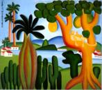 """Tarsila do Amaral (1886-1973) foi uma das mais importantes artistas do Brasil. Após passar dois anos em Paris, retorna a São Paulo em 1922 para integrar o """"Grupo dos Cinco"""", que defende as ideias da Semana de Arte Moderna e toma a frente do Movimento Modernista do país.  A tela Cartão Postal do Brasil, feito em 1928, mostra a cidade do Rio de Janeiro. Nela, vemos o macaco que é um bicho Antropofágico de Tarsila, que compõe a tela."""