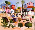 """Tarsila do Amaral (1886-1973) foi uma das mais importantes artistas do Brasil. Após passar dois anos em Paris, retorna a São Paulo em 1922 para integrar o """"Grupo dos Cinco """", que defende as ideias da Semana de Arte Moderna e toma a frente do Movimento Modernista do país.  A tela Morro da Favela de 1924, possui uma visão idílica da fase pau-brasil, apresentando o casario baixo, a vegetação natural, os negros simples, o chão de terra batida e as cores  """"caipiras"""", típicas desta fase. Cena pacífica, oscilando entre o rural e o urbano."""