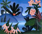 """Tarsila do Amaral (1886-1973) foi uma das mais importantes artistas do Brasil. Após passar dois anos em Paris, retorna a São Paulo em 1922 para integrar o """"Grupo dos Cinco """", que defende as ideias da Semana de Arte Moderna e toma a frente do Movimento Modernista do país.  Esta tela é da fase Antropofágica, com o colorido e o tema típicos de Tarsila. Seu sobrinho Sérgio comprou a tela e permaneceu com ela por muitos anos."""
